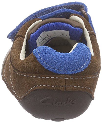Clarks Kids Tiny Flash, Baskets premiers pas mixte bébé Marron (Brown Combi Lea)