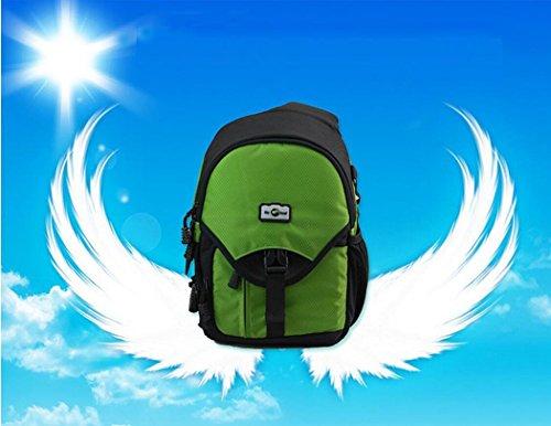 SLR Kamera Sling Pack Outdoor Freizeit Nylon wasserdichte leichte Messenger Bag Digitalkamera Schulter Kleine Rucksack für Reise Camping Klettern Wandern mit Regen Cover 5 Farbe H32 x L23 x T16 CM Fluorescent green