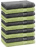 10er Pack Gästehandtücher Gästetuch Premium Farbe Apfel Grün & Anthrazit Grau Größe 30x50 cm 100% Baumwolle