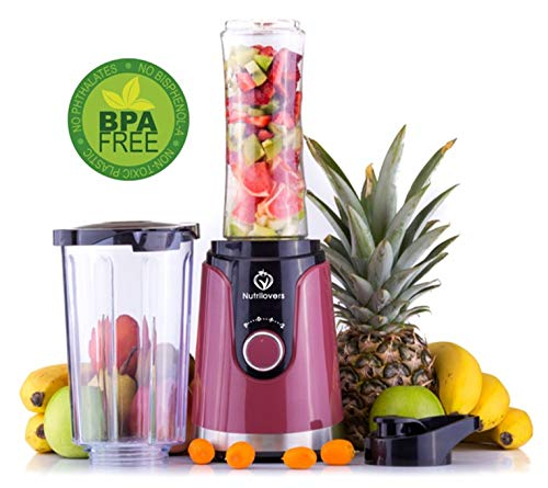 NUTRI-TWIST NO.1 Smoothie Maker to go Innovatives 2-IN-1 DESIGN + 600ml Trinkflasche - BPA-frei - Der beste Mini Stand-Mixer Geschenk zu Weihnachten (Pink Pepper - Rot)