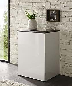 Matelpro-Meuble de rangement design 1 porte blanc laqué Louisa-Miel