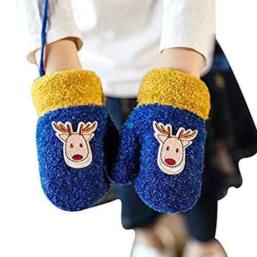 longteng Niedliche Fäustlinge Kleinkinder 1-3 Jahre Handschuhe Mädchen Jungen Kinderhandschuhe warm dicke Fingerhandschuhe modisch Wollhandschuhe weich Gloves mit Plüsch Fleecefutter Babyhandschuhe Outdoor