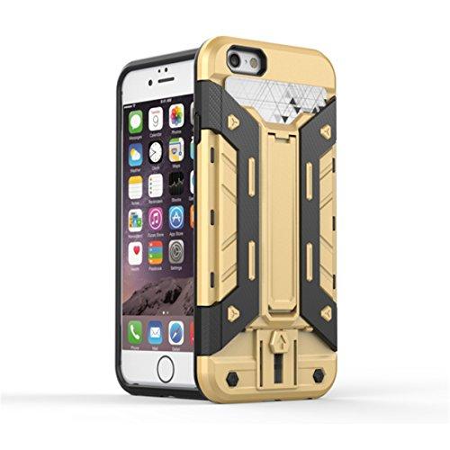 iPhone 6S Plus Coque, iPhone 6 Plus Coque, Lifeturt [ Jaune ] Étuis De Premium Kickstand Bumper Case [HEAVY DUTY] Corps Plein Robuste Hybride Double Couche De Protection Cover Bumper Case La Protectio E02-Or