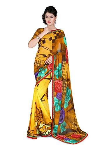 Sharda Sarees Georgette Saree (Yellow) with Blouse Piece