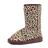 Frauen Mitte Wade Schnee Stiefel Pull auf Beute Winter Kunstfell Gefüttert Hausschuhe Casual Schuhe Leopard Muster, Leopard - Größe: 35.5