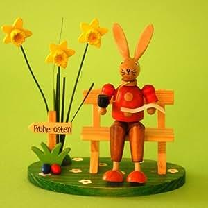 Lapin de pâques lapin sur banc en bois: env. 12 cm-décoration de printemps/pâques 82113 dekohase figurine lapin
