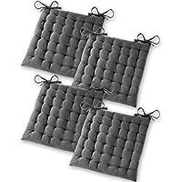 Gräfenstayn® Set de 4 Cojines, Cojines para Silla de 40 x 40 x 5 cm para Interior y Exterior de 100% algodón Acolchado Grueso/cojín para el Suelo (Antracita)