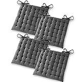 Gräfenstayn® Set de 4 Coussins d'Assise Coussins de Chaise 40x40x5cm pour intérieur et extérieur - 100% Coton - Différents Coloris - Rembourrage épais (Anthracite)