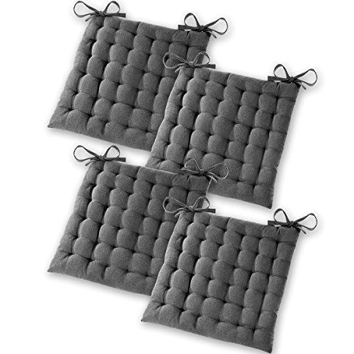 """Gräfenstayn 4er-Set Sitzkissen Stuhlkissen 40x40x5cm für Indoor und Outdoor aus 100{2fbe7d50610a7aa6b92d2c0e42f5e2adbf2bea1342890a6082ec818aeae84882} Baumwolle - verschiedene Farben – dicke Polsterung Steppkissen / Bodenkissen - mit Öko-Tex Siegel Standard 100: \""""Geprüftes Vertrauen\"""" (Anthrazit)"""