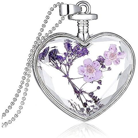 tianqin WY Forget Me Not Real Dry Fiore Cuore Bottiglia Di Vetro Collana Con Ciondolo trasparente collare collana Purple