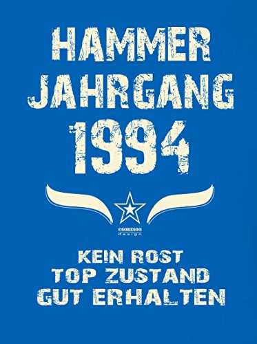 Modisches 23. Jahre Fun T-Shirt zum Männer-Geburtstag Hammer Jahrgang 1994 Farbe: royal-blau Royal-Blau