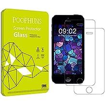 2-Pack Cristal Templado iPhone 5S 5C 5 SE, POOPHUNS Protector Pantalla iPhone 5S 5C 5 SE, Protector Cristal Vidrio Templado para iPhone 5 5S 5C SE, Ultra Resistente a Golpes y Rayado, Alta Transparencia, Sin burbujas