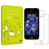 POOPHUNS iPhone SE5S 5 5C Panzerglas, 2Stück Schutzfolie iPhoneSE5S 5 5C,iPhoneSE5S 5 5C Displayschutzfolie, 9HHärtegrad,99%TransparenzFullHD,EinfachesAnbringen