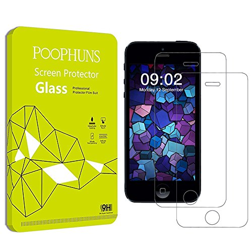 Cristal Templado iPhone 5S 5C 5 SE, POOPHUNS 2-Pack, Protector Pantall