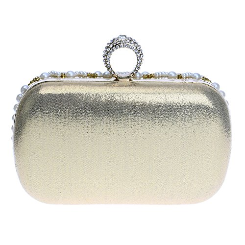 ZAMAC Damen Perle Perlen Strass Clutch Bag Elegante Designer Damen Abendtasche Gold