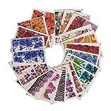 Contever® 3D Bunte Packung mit 50 Stück Nail Wasser Transfers Nagel Kunst Aufkleber / Abziehbilder / Tätowierung - Blumen Muster 1 #