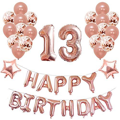 Yoart 13. Geburtstag Dekorationen Rose Gold für Mädchen Birthday Party Supplies 39 Stück mit Alles Gute zum Geburtstag Banner Konfetti Latex Ballons Sterne Folien Ballons - Mädchen Supplies Party Birthday 1
