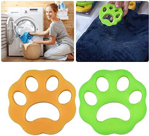 2x Tierhaarentferner Haustier Haarentferner Flusensiebe für Waschmaschine Haarfänger Haarentfernung + 2x Wäscherei Bälle, Wiederverwendbar, für Hundehaar, Katzenfell, alle Haustiere
