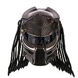BQT Casque De Moto Predator Fibre De Carbone, Casque De Plein Visage De Fer Guerrier Hommes Casque, Dot Safety Certified (M/L/XL/XXL) Taille (Noir),XXL