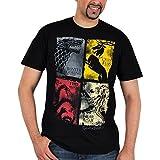 Game of Thrones Lannister Targaryen Stark Baratheon Emblem distressed T Shirt Black - Black
