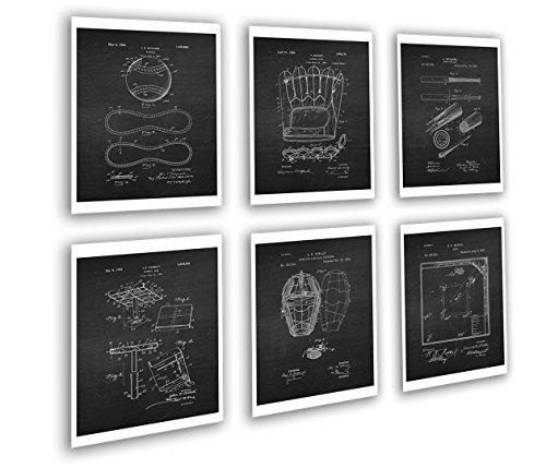 Gnosis Picture Archive Baseball Set Wall Art Decor von 6Patent gerahmt Art Geschenk für Baseball Player 20,3x 25,4cm Baseball chk6a