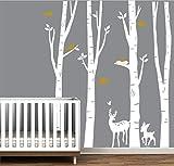 BDECOLL Autocollant en bois de Birch Tree Autocollant de vinyle de forêt et d'oiseaux de neige et de cerf (blanc)