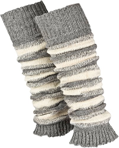 Piarini 1 Paar geringelte Stulpen Damen | warme Bein-Stulpen in Strick | Wolle in One-Size Grau-Weiß