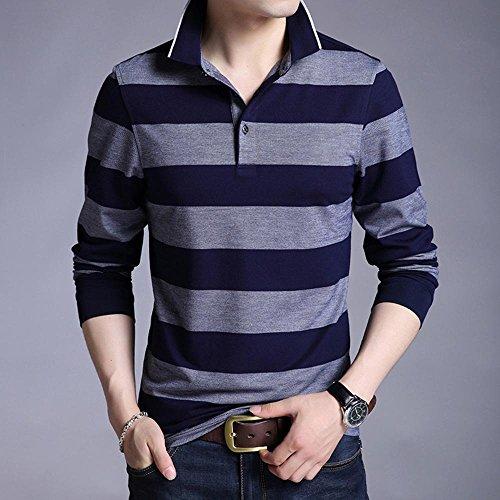 Mens Polo Shirt Elastizität Kragen Hals Multi Streifen schwere Langarm Top vorne Reihe genäht Rugby-Stil , blue ash , xxxl (Herren-multi-streifen-polos)