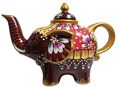 Éléphant-verseuse design: noir/rouge-théière en porcelaine avec couvercle, 1826