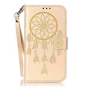 Gold Colorful Printing Dream Catcher Leather Flip Cover Wallet Case For Samsung Galaxy S7