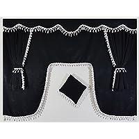 Set de 5unidades negro cortinas con borlas de color blanco Universal tamaño todos los modelos de camión cabina accesorios decoración tejido de felpa