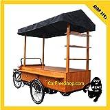 carfreeshop SHOP-BIKE2745 Vélo ELECTRIQUE BOUTIQUE VINTAGE pour VENTE à EMPORTER/STAND de marché/magasin MOBILE en zone piétonne, cargo à 3-roues/trike/tricycle/triporteur couvert (auvent de protection), caisse de stockage/rangement/placard - mobilité douce/décarbonée/verte/sobre