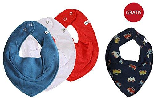 Preisvergleich Produktbild  SUPER KOMBI-SET  PIPPI 3er Set Jungen Baby Kinder HALSTUCH 3 Stück blau / weiß / rot  + GRATIS 1 Bestseller Halstuch Autos auf dunkelblau