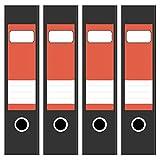4 x farbige Akten-Ordner Etiketten/Aufkleber/Rücken Sticker/Farbe Rot/für breite Ordner/selbstklebend / 6cm breit