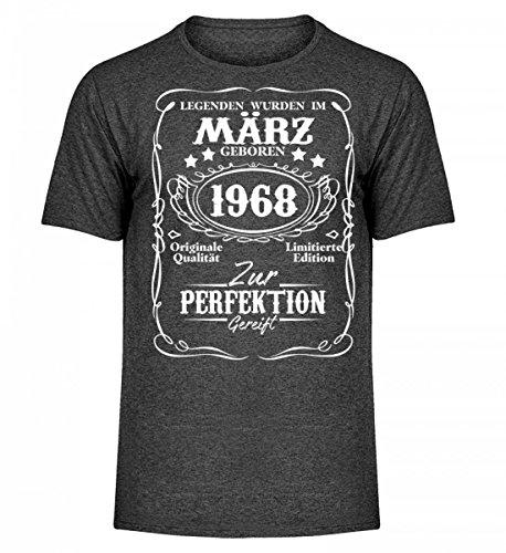Hochwertiges Herren Melange Shirt - Legenden März Geburtstag Geschenk 1968 (L/s Legende Shirt)