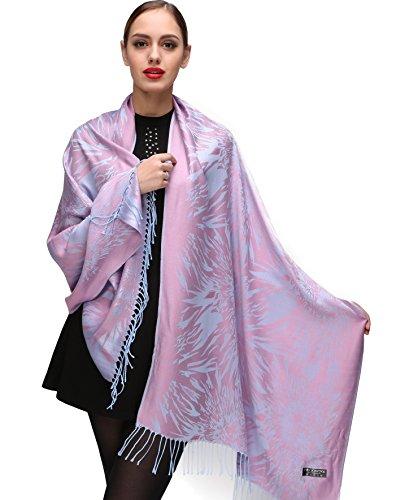 Shmily Girl Damen Schultertuch Stola - Eleganter Pashmina Schal mit floralem Muster in vielen Farben (One Size, Violett-c102)