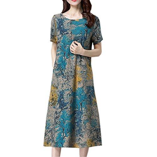 XNBZW Frauen Maxi Kleid Print O Neck Kurzarm Baumwolle Leinen Lose Beiläufiges T-Shirt Sommer Beach Party Shopping Kleid Mit Taschen Blau L