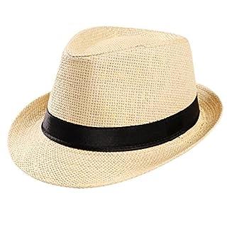 Summer Hats-Unisex Men Women Packable Fedora Trilby Straw Sun Beach Hats Clearance (Beige)