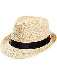 e8e19b25 Summer Hats-Unisex Men Women Packable Fedora Trilby Straw Sun Beach Hats
