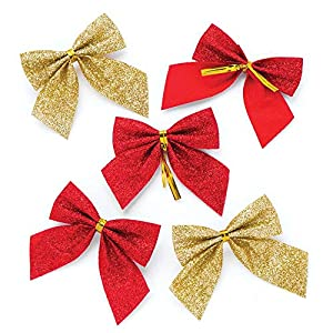 Baker Ross Red & Gold Glitter Bows (Pack Of 24) For Kids Christmas Arts And Crafts