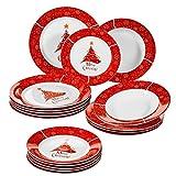 VEWEET, Serie CHRISTMASDEER, vajillas de Porcelana, vajilla Completa para 6 Persona...