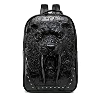 AXROAD MALL 3D Leopard Head PU Leather Backpack,Outdoor School College Bookbag Fit 15.6 Inch Laptop Computer Backpack For Man And Woman (Color : Black)