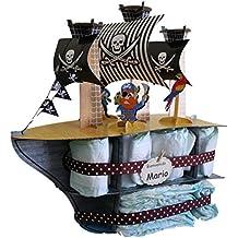 Tarta de pañales Barco Pirata - regalo original para bebé - tarta de pañales original -