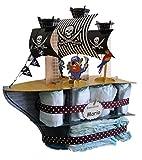 Tarta de pañales Barco Pirata - regalo original para bebé - tarta de...