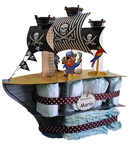 Tarta pañales Barco Pirata - regalo original bebé