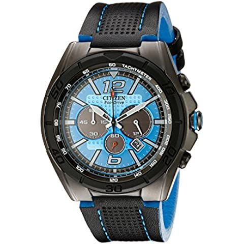 Citizen CA4148-00L Men's BRT Eco-Drive Blue Dial Leather Strap Chronograph Watch - Citizen Eco Drive Mens Chronograph