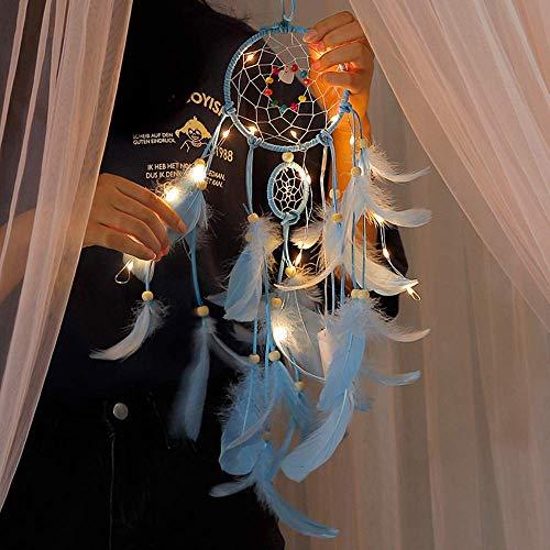 Gaddrt 55 x 11 cm handgefertigter Traumfänger Nachtlicht Federn Eule Wand Auto Hängende Dekoration Zimmer Home Ornament, Feder, blau