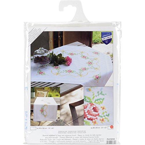 Vervaco Tischdecke Girlande mit Rosen Bedruckte Decke mit Webrand, Baumwolle, Mehrfarbig, 80 x 80 x 0,3 cm
