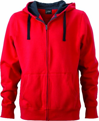 James & Nicholson Herren Sweatshirt Sweatjacke Men's Hooded Jacket rot (red/cabon) XXX-Large