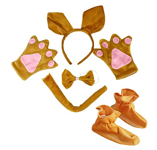Kangaroo Headband Bowtie Tail Gloves Shoes 5pc Costume for Child Birthday Party (One ()